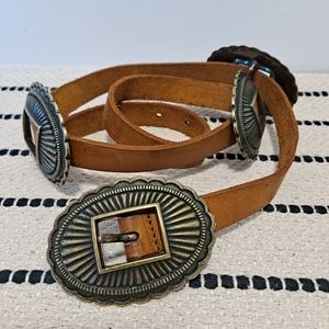 Vtg Linea Pelle Concho & Leather Belt Brown
